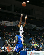 Fred Durr of the Razorsharks takes a shot over Bamba Dioum of the Carolina Vipers at the Blue Cross Arena on Saturday, December 6, 2014.