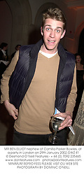 MR BEN ELLIOT nephew of Camilla Parker Bowles, at a party in London on 29th January 2002.	OWZ 41