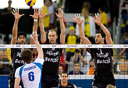 Neves Leandro Vissotto, Andrea Sala and Matey Kaziyski of Trentino at  final match of CEV Indesit Champions League FINAL FOUR tournament between Dinamo Moscow, RUS and Trentino BetClic, ITA on May 2, 2010, at Arena Atlas, Lodz, Poland. Trentino defeated Dinamo 3-0 and became Winner of the Champions League. (Photo by Vid Ponikvar / Sportida)