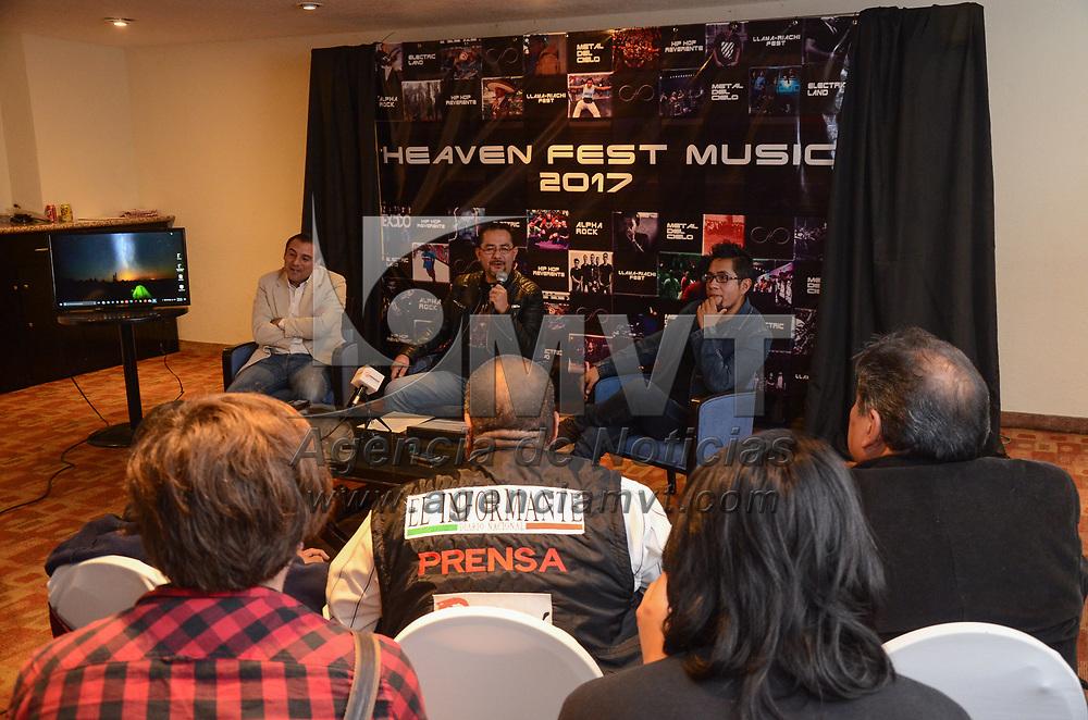 TOLUCA, México (Julio 13, 2017).- Misael Romero Lagunas, líder del proyecto, durante conferencia de prensa, donde anunciaron la segunda edición del Heaven Fest Music 2017, que se realizará del 19 al 22 de julio en la Alameda Central de Toluca. Agencia MVT / Arturo Hernández.