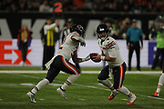 Chase Daniel (QB) of the Chicago Bears David Montgomery (RB) of the Chicago Bears during the International Series match between Chicago Bears and Oakland Raiders at Tottenham Hotspur Stadium, London, United Kingdom on 6 October 2019.