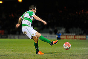 Yeovil Town's Matthew Dolan misses his teams 5th penalty in the shoot-out during the The FA Cup Third Round Replay match between Yeovil Town and Carlisle United at Huish Park, Yeovil, England on 19 January 2016. Photo by Graham Hunt.