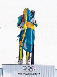 22.02.2018, Yongpyong Alpine Centre, Pyeongchang, KOR, PyeongChang 2018, Ski Alpin, Herren, Slalom, Siegerpräsentation, im Bild Andre Myhrer (SWE, 1. Platz) // gold medalist and Olympic champion Andre Myhrer of Sweden during the winner presentation of the men's Alpine Slalom Race of the Pyeongchang 2018 Winter Olympic Games at the Yongpyong Alpine Centre in Pyeongchang, South Korea on 2018/02/22. EXPA Pictures © 2018, PhotoCredit: EXPA/ Johann Groder