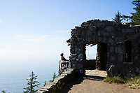 Stone shelter atop Cape Perpetua Scenic Area, Oregon.