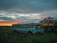 An abandoned bus alongside Ruta 5 that connecting Tacuarembo with Montevideo, passing through the centre of the country. It is a national route, one of the most important highways for the &quot;Meat Economy&quot; in Uruguay. <br />
