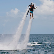 Jonthan Thompson flying a jet pack in Florida, USA