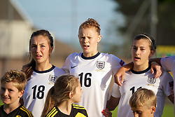 LLANELLI, WALES - Monday, August 19, 2013: England's Katie Zelem, Meaghan Sergeant and Hannah Blundell before the Group A match against France of the UEFA Women's Under-19 Championship Wales 2013 tournament at Stebonheath Park. (Pic by David Rawcliffe/Propaganda)