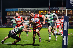 Gloucester Winger (#11) Shane Monahan runs in to score his 4th try of the game as London Irish Full Back (#15) Tom Homer fails to tackle during the second half of the match - Photo mandatory by-line: Rogan Thomson/JMP - Tel: Mobile: 07966 386802 15/12/2012 - SPORT - RUGBY - Kingsholm Stadium - Gloucester. Gloucester Rugby v London Irish - Amlin Challenge Cup Round 4.