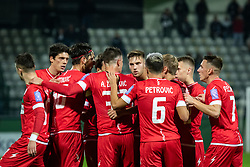 Team of Aluminij celebrating during football match between NŠ Mura and NK Aluminij in 17th Round of Prva liga Telekom Slovenije 2019/20, on November 10, 2019 in Fazanerija, Murska Sobota, Slovenia. Photo by Blaž Weindorfer / Sportida