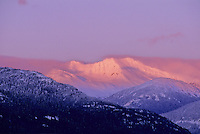 Mount Currie and pink alpenglow, as seen from Whistler, BC