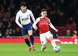 December 19, 2018 - London, England, United Kingdom - London, UK, 19 December, 2018.Lucas Torreira of Arsenal.during Carabao Cup Quarter - Final between Arsenal and Tottenham Hotspur  at Emirates stadium , London, England on 19 Dec 2018. (Credit Image: © Action Foto Sport/NurPhoto via ZUMA Press)