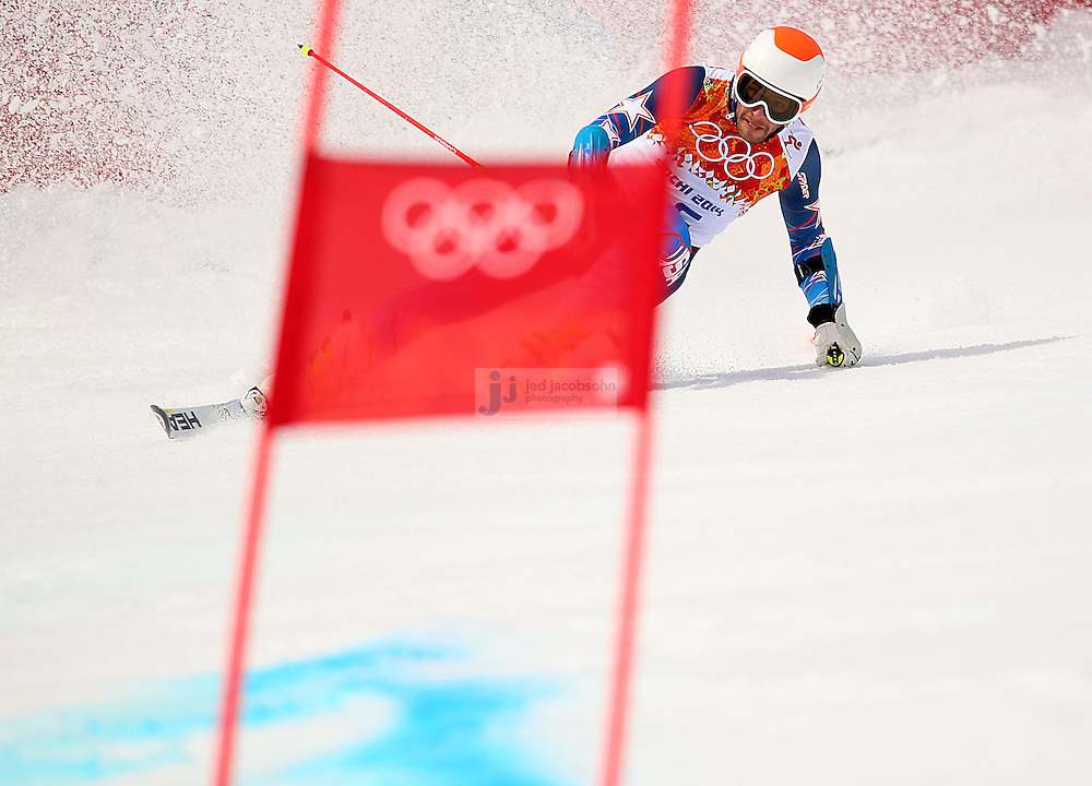 Alpine Skiing: 2014 Winter Olympics: USA Bode Miller (16) in action during Men's Giant Slalom Run 1 at Rosa Khutor Alpine Center. Miller finished in 20th place. Krasnaya Polyana, Russia 2/19/2014 CREDIT: Jed Jacobsohn (Photo by Jed Jacobsohn