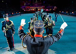 Edinburgh, Scotland, UK. 1 August, 2019. Preview opening night of the 2019 Royal Edinburgh Military Tattoo, performed on the esplanade at Edinburgh Castle. This is the Tattoo's 69th year and it runs from 2-24 August. Pictured Musique de 'Artillerie