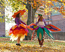 Pictured: Liberty Bramall and Corinne Huhnke enjoy the sunshine<br /> <br /> Outfits adorned with bells, lights and mirrors are among the designs by University of Edinburgh students which are to feature at events marking the Indian festival of Diwali this weekend<br /> (c) Ger Harley | Edinburgh Elite media
