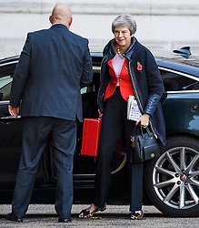 © Licensed to London News Pictures. 29/10/2018. London, UK. British Prime minister THERESA MAY is seen arriving at Downing Street o the day that Chancellor Philip Hammond will present his Budget to Parliament. This will be the last budget before the UK is due to exit the European Union in March of 2019. Photo credit: Ben Cawthra/LNP