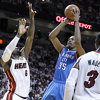 21 June 2012: Oklahoma City Thunder small forward Kevin Durant (35) takes a jumpshot over Miami Heat small forward LeBron James (6) during the second quarter of Game 5 of the 2012 NBA Finals, at the AmericanAirlinesArena, Miami, Florida, USA.