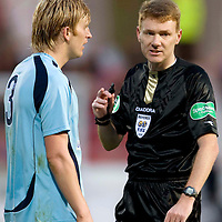 Dunfermline v St Johnstone....01.11.08<br /> Ref Calum Murray gives Liam Craig a talking to<br /> Picture by Graeme Hart.<br /> Copyright Perthshire Picture Agency<br /> Tel: 01738 623350  Mobile: 07990 594431