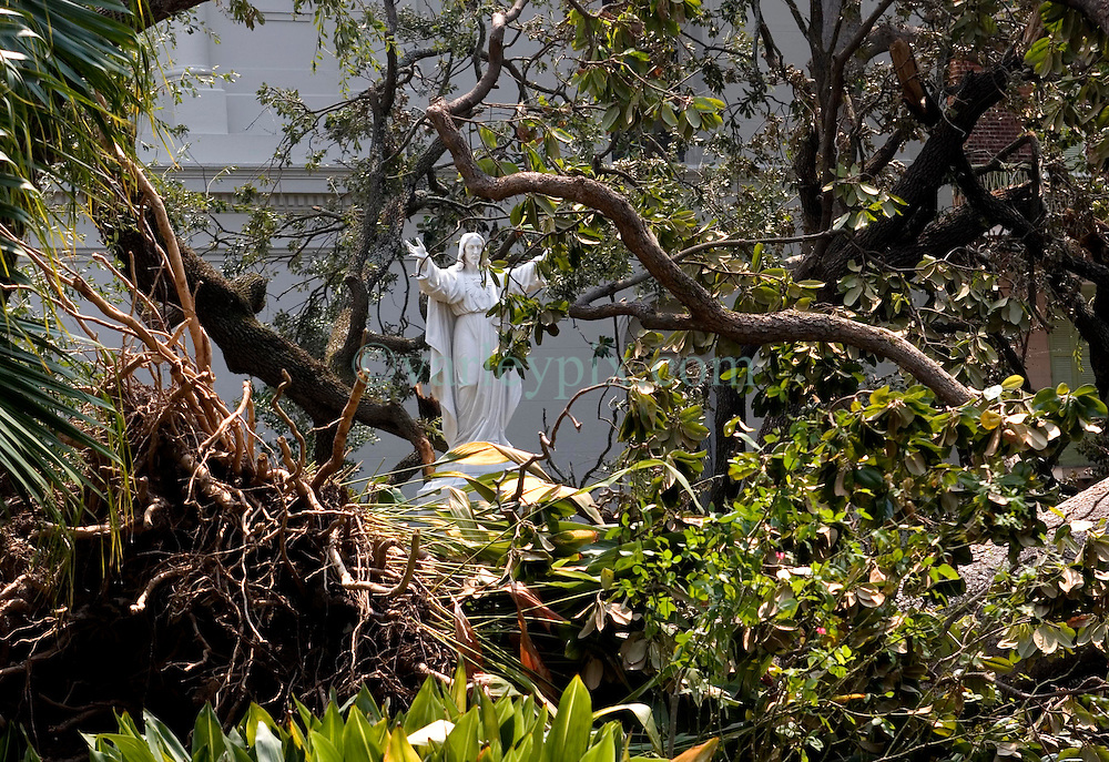03 Sept  2005. New Orleans, Louisiana. Post hurricane Katrina.<br /> A statue of Jesus stands untouched, surrounded by smashed trees behind the St Louis Cathedral in the French Quarter.<br /> Photo Credit &copy;: Charlie Varley/varleypix.com