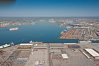 Aerial of Dundalk Marine Terminal and Seagirt with Carnival Pride sailing toward Baltimore City