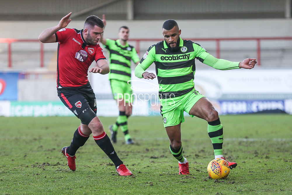 Forest Green Rovers Dan Wishart(17) on the ball during the EFL Sky Bet League 2 match between Morecambe and Forest Green Rovers at the Globe Arena, Morecambe, England on 17 February 2018. Picture by Shane Healey.