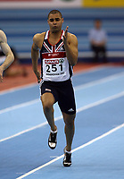 Photo: Rich Eaton.<br /> <br /> EAA European Athletics Indoor Championships, Birmingham 2007. 03/03/2007. Jason Gardener of Great Britain gets a place in the final of the mens 60m with this run in the semi finals