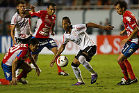 20120307: SAO PAULO, BRAZIL - Player Caniza; Liedson  and Miranda during Corinthians (Brasil) vs Nacional (Paraguai) for Copa Libertadores held at Pacaembu stadium in SP<br />