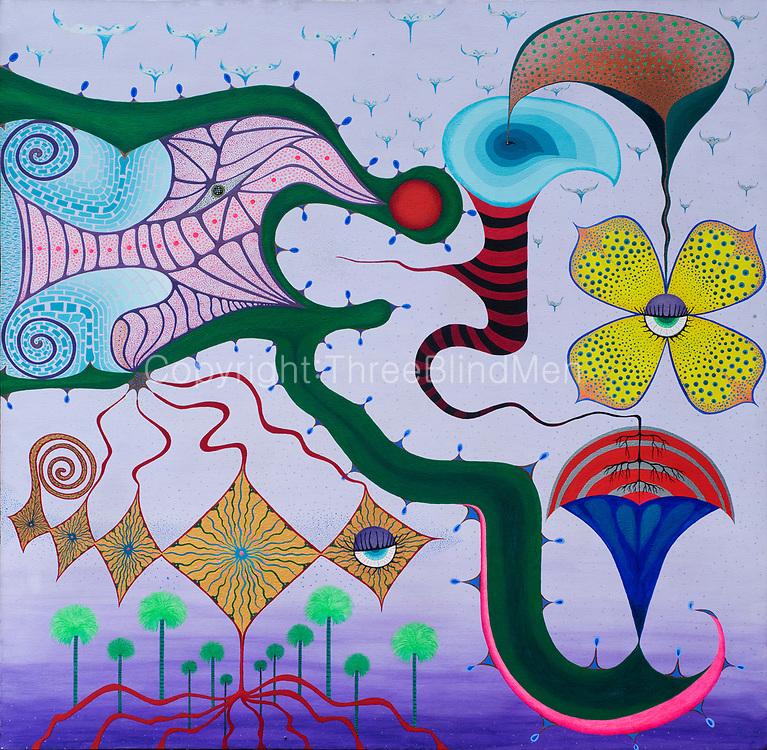 Mike Harridge. <br /> &quot;Torkie&quot;<br /> 35&quot;  x  35&quot;<br /> Acrylic on Canvas.<br /> 90,000/-