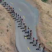 Riders were strung out single file during the twelve-mile Mount Diablo climb.