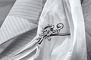 Moonbeam spinnaker with Fife Dragon.<br />