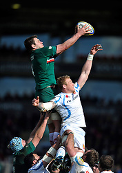 Louis Deacon (Leicester) rises high to win lineout ball - Photo mandatory by-line: Patrick Khachfe/JMP - Tel: Mobile: 07966 386802 23/03/2014 - SPORT - RUGBY UNION - Welford Road, Leicester - Leicester Tigers v Exeter Chiefs - Aviva Premiership.