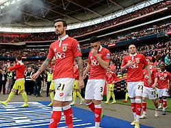 Bristol City walk out on to the Wembley Pitch  - Photo mandatory by-line: Joe Meredith/JMP - Mobile: 07966 386802 - 22/03/2015 - SPORT - Football - London - Wembley Stadium - Bristol City v Walsall - Johnstone Paint Trophy Final