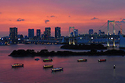 """""""Yakata-bune"""" pleasure boats set anchor on the placid waters of Tokyo Bay in Tokyo, Japan on 3 Sept.  2010. .Photographer: Robert Gilhooly"""
