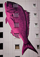 Fish mural on an apartment block in Tokyo, Japan.
