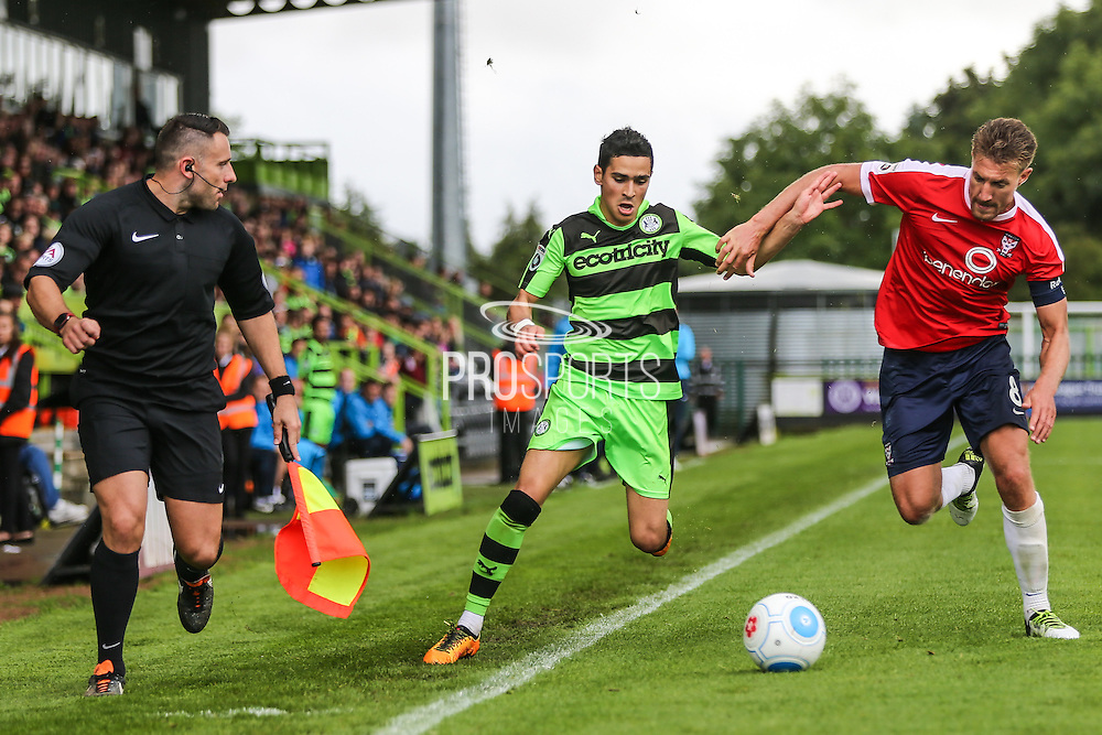 Forest Green Rovers Mohammed Chemlal (25) battles for possession with York City's Simon Heslop(8) during the Vanarama National League match between Forest Green Rovers and York City at the New Lawn, Forest Green, United Kingdom on 20 August 2016. Photo by Shane Healey.