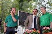 (from left) Luca Zaia, Minister for Agriculture and Forestry of Berlusconi cabinet,  Roberto Maroni, Minister of Interior of Berlusconi cabinet, and Umberto Bossi, Federal Secretary of Lega Nord (Northern League party), at Lega Nord meeting in Pontida, Sunday, June 14, 2009...