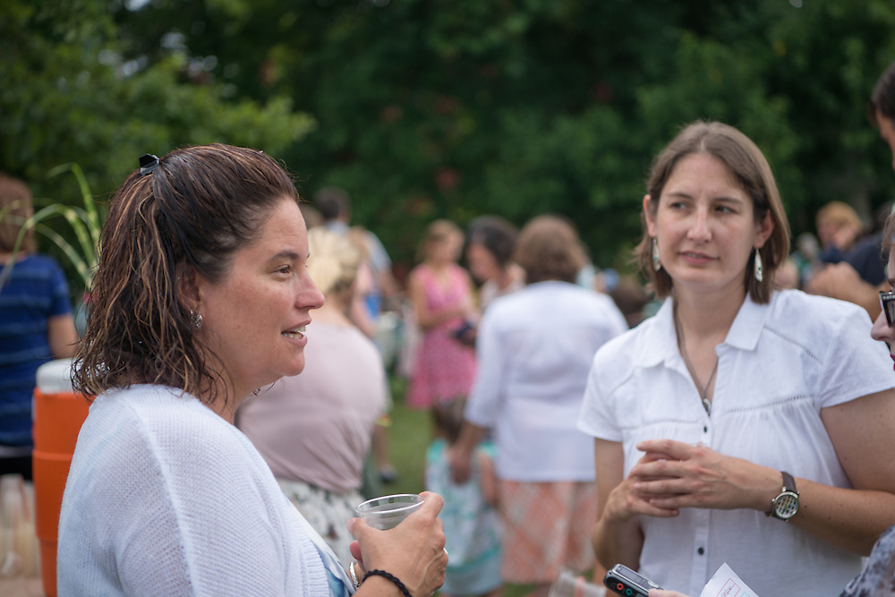 Lisa Frasure (Left) leads her first garden party as Director of the Ohio University Child Development Center. Photo by Ben Siegel