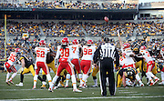 The Kansas City Chiefs look on as the Pittsburgh Steelers kick a fourth quarter field goal good for a 20-9 lead during the NFL week 16 regular season football game against the Pittsburgh Steelers on Sunday, Dec. 21, 2014 in Pittsburgh. The Steelers won the game 20-12 and clinched an AFC playoff spot. ©Paul Anthony Spinelli