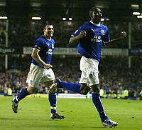 Fotball<br /> Photo. Aidan Ellis, Digitalsport<br /> NORWAY ONLY<br /> <br /> Everton v Tottenham Hotspur.<br /> FA Barclaycard Premiership.<br /> 09/04/2004.<br /> Evereton's joseph yobo celebrates his goal and teams third