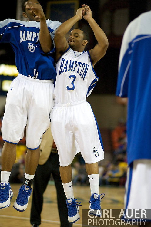November 29, 2008: Hampton guard Rashad West (3) prior to the championship game of the 2008 Great Alaska Shootout at the Sullivan Arena.  San Diego State would keep Hampton scoreless for most of the first 7 minutes of the game and never look back on the Aztec's run to the win Saturday night.