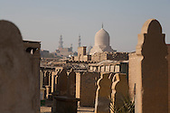 Egypt. Cairo - the cemetery north in the background the MAUSOLEUM of TARABAY ASH Sharifi - AFTER renovation - islamic Cairo     NM255 +