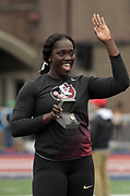 Apr 27, 2018; Philadelphia, PA, USA; Shanice Love of Florida State poses after winning the women's discus throw during the 124th Penn Relays at Franklin Field.