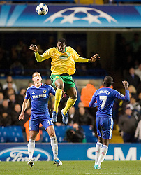23.11.2010, Stamford Bridge, London, ENG, UEFA CL, Chelsea FC vs MSK Zilina, im Bild MSK Zilina's Babatounde jumps unchallenged for a header, UEFA Champions League Group Stage, Chelsea v MSK Zalina, 23/11/2010. EXPA Pictures © 2010, PhotoCredit: EXPA/ IPS/ Mark Greenwood +++++ ATTENTION - OUT OF ENGLAND/UK and FRANCE/FR +++++