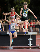 Allie Ostrander (72) of Boise State, Marie Bouchard (395) of San Francisco and Grayson Murphy (554) of Utah race over the water jump in the women's steeplechase in the Stanford Invitational in Stanford, Calif., Friday, Mar 30, 2018. Ostrander won in 9:38,57. Bouchard was second in 9:47.03 and Murphy was third in 9:51.36. (Gerome Wright/Image of Sport)