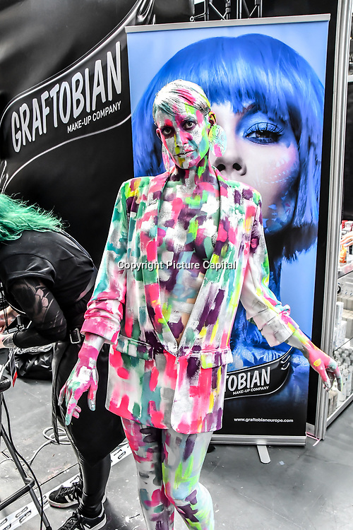 Graftobian make-up Company artist De Maria model Raquel Pintado Rosa  demo at IMATS London on 18 May 2019,  London, UK.