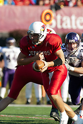 29 October 2005: Redbird Quarterback Luke Drone steps back for a hand off. With a final score of 31 - 17, Western Illinois University Leathernecks collared the Illinois State University Redbirds knocking them from their 18th ranked perch at Hancock Field on Illinois State's campus in Normal IL