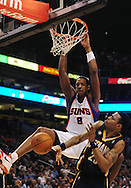 Mar. 6 2010; Phoenix, AZ, USA;  Phoenix Suns center Channing Frye (8) puts up a shot against Indiana Pacers guard Brandon Rush (25) in the second half at the US Airways Center. The Suns defeated the Pacers 113 to 105. Mandatory Credit: Jennifer Stewart-US PRESSWIRE.