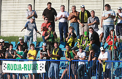 Fans of Rudar  at 6th Round of PrvaLiga Telekom Slovenije between NK Primorje Ajdovscina vs NK Rudar Velenje, on August 24, 2008, in Town stadium in Ajdovscina. Primorje won the match 3:1. (Photo by Vid Ponikvar / Sportal Images)