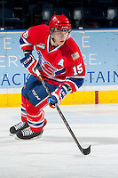 KELOWNA, CANADA - MARCH 5: Carter Proft #15 of the Spokane Chiefs skates against the Kelowna Rockets on March 5, 2014 at Prospera Place in Kelowna, British Columbia, Canada.   (Photo by Marissa Baecker/Getty Images)  *** Local Caption *** Carter Proft;