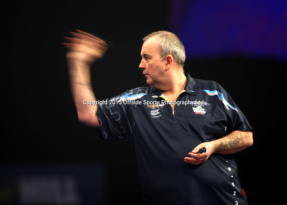 02 January 2015  PDC World Darts Championship London;  Phil Taylor in action.<br /> Photo: Mark Leech