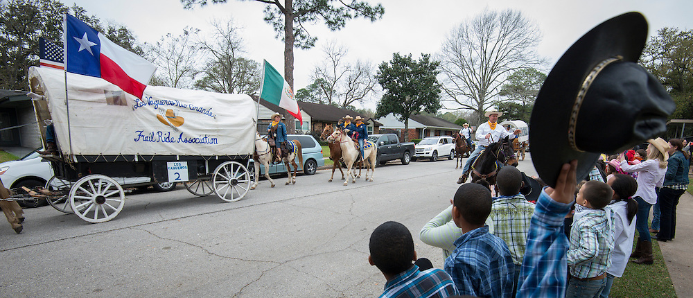 Students and staff from Parker Elementary School meet the Vaqueros Trail Riders as part of Go Texan Day, February 28, 2014.